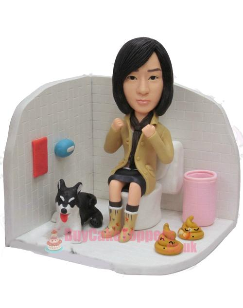 funny toilet girl custom figure
