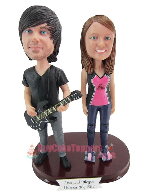 Young Couple Play Guitar Custom Cake Toppers