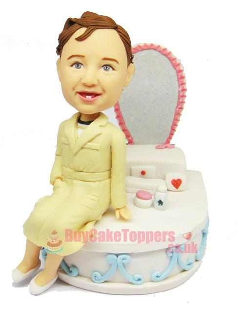 kids with makeup table figurine - Custom cake toppers | Personalised ...